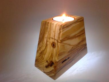 Handmade Olivewood Tea Light Candle Holder Two Sides Pyramid Shape