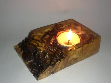 Natural  Handmade Wooden Tea Light Candlestick from Olive Tree Root