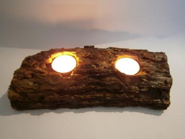 Natural 2TeaLight Candlestick from Wild Carob Tree (Ceratonia siliqua) Trunk.