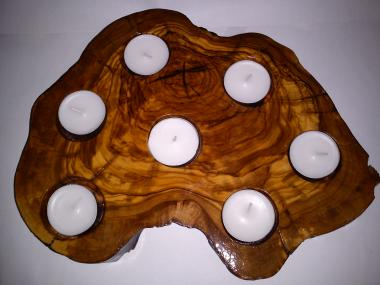 Natural Handmade Olivewood 7 Tea Light Candlestick, from Olive Tree Trunk