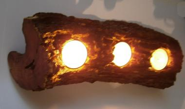 Natural TeaLight Candle Holder from Greek Carob Tree (Ceratonia siliqua) Trunk.