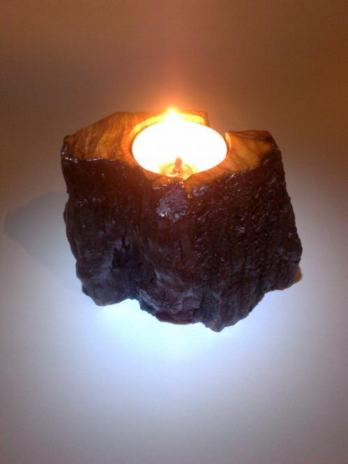 Handmade tea light candlestick from Greek olive wood root
