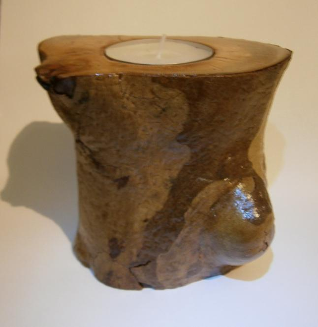 Natural Maxi Tea Light Candle Holder from Greek Eucalyptus Tree Branch.