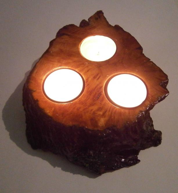 Natural Red Tea Light Candlestick from Carob Tree (Ceratonia siliqua), Skeleton.