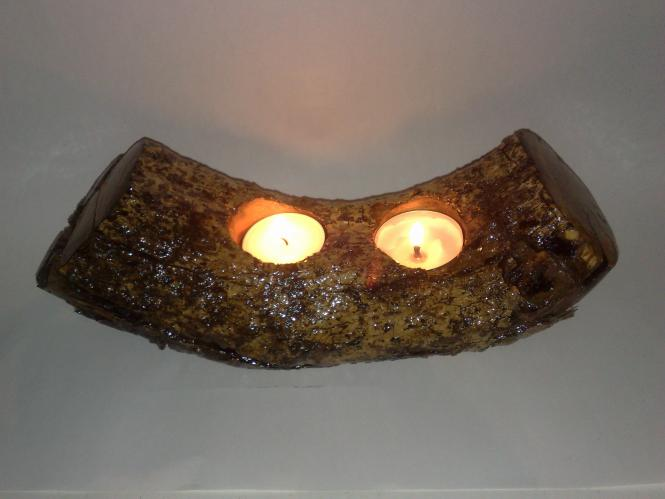 Handmade Natural Double TeaLight Candle Holder From Old OliveRoot