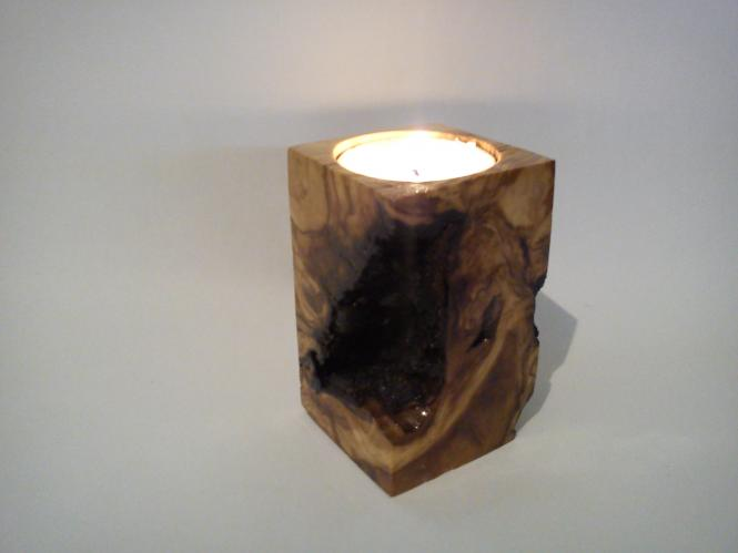 Tea light Candlestick From Olivewood Root
