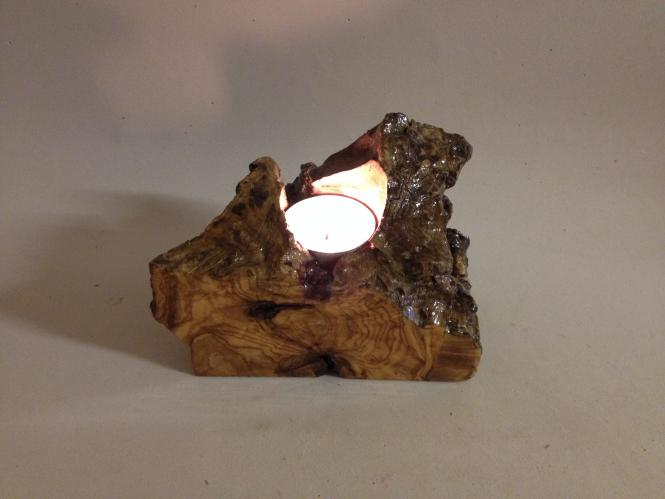 Natural Olive wood Tea Light Candle Holder Unique